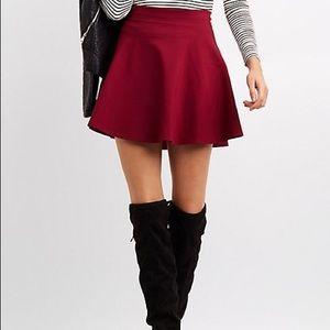 Dresses & Skirts - Red knit skater skirt